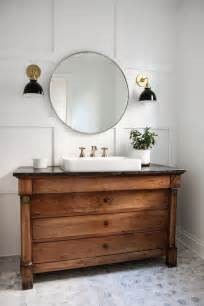 farmhouse bathroom vanity with white tile freestanding