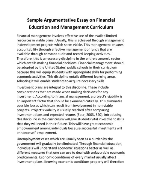 Exles Of Argumentative Essays by Sle Argumentative Essay On Financial Education And Management Curr
