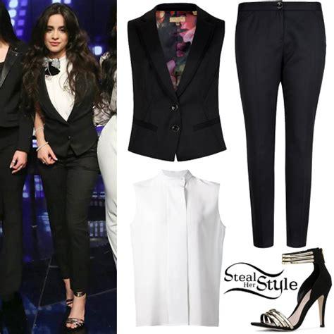 Blouse Sabrina Camila Camila Cabello Black Suit White Blouse Style