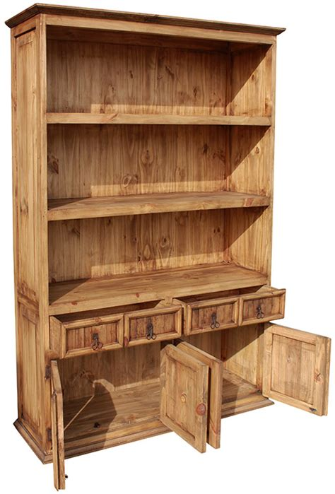 rustic pine collection four door bookcase lib101