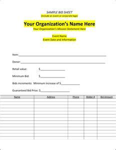 charity auction receipt template sle bid sheet silent auction bid sheets