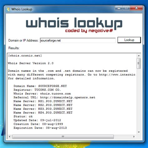 Whois Lookup Whois Lookup Sourceforge Net