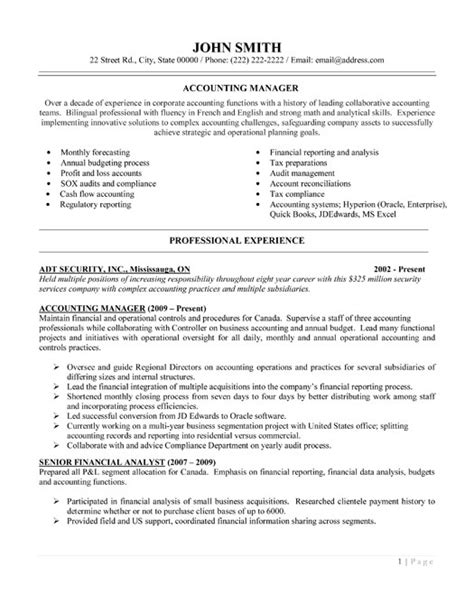 Resume Templates For Accounting Managers Accounting Manager Resume Template Premium Resume Sles Exle