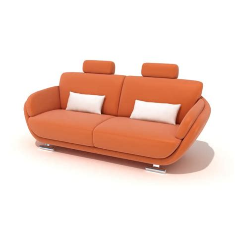 Orange Sofa Pillows Orange With White Pillows 3d Model Cgtrader