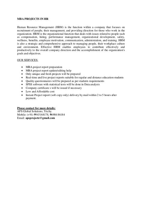 Mba Project Report On Hr Policies And Practices Pdf by Mba Projects Hrm Project Report