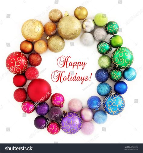 Colorful Baubles by Colorful Wreath Decoration Rainbow Color Stock