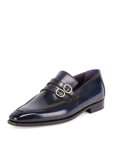 berluti loafers berluti andy monk leather loafer in blue for lyst