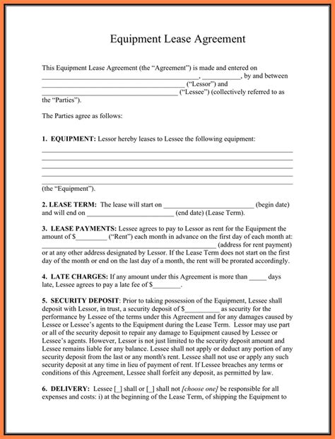 6 equipment lease purchase agreement template purchase