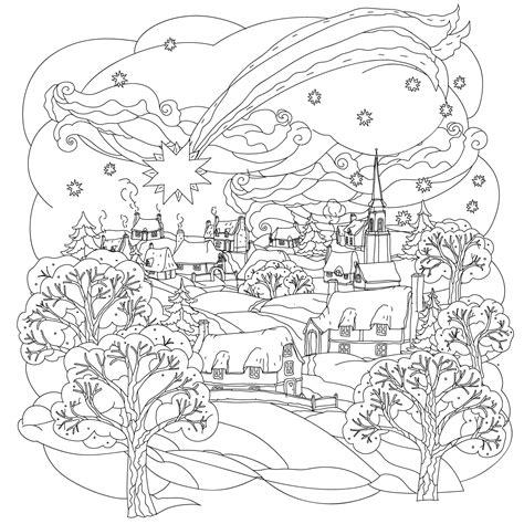 coloring pages christmas village christmas star flies over winter village a beautiful