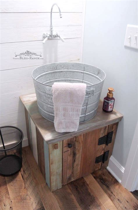 rustic  calm guest bathroom   galvanized tub
