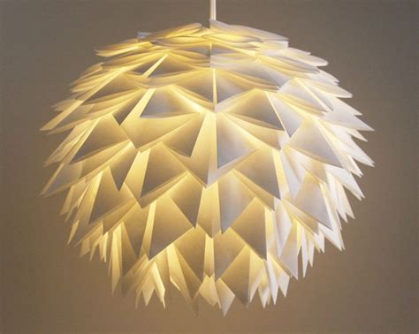 Folded Paper Light Shade - white spiky pendant light overlapping folds origami