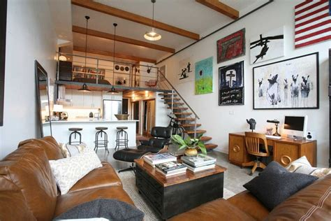 small loft living room ideas small loft apartment living room industrial with high