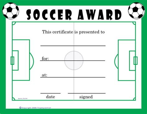 soccer award certificate templates free soccer certificates 0 00 for the