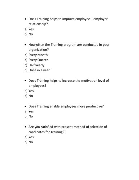 Employee Motivation Questionnaire For Mba Project by A Questionnaire For And Development 3