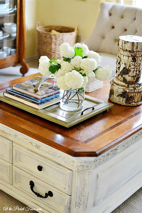 chalky finish coffee table makeover at the picket fence