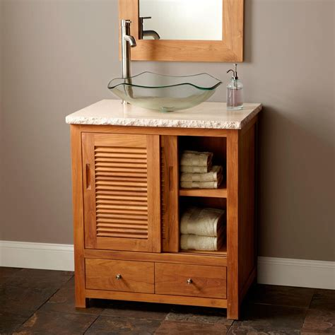 bathroom vanity for vessel sink 30 quot arrey teak vessel sink vanity natural teak teak