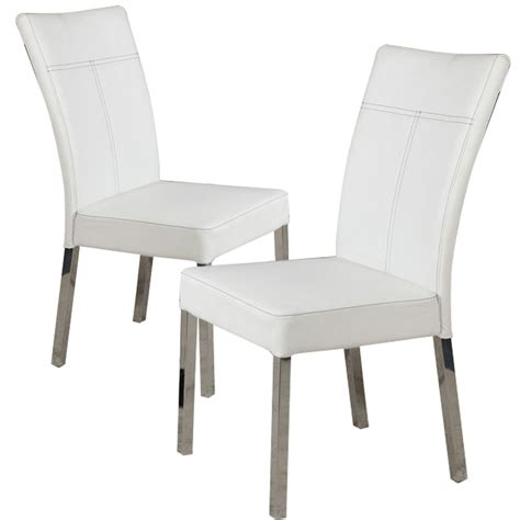 chrome dining chairs ebay set of 4 dining side chair white pu leather high back w