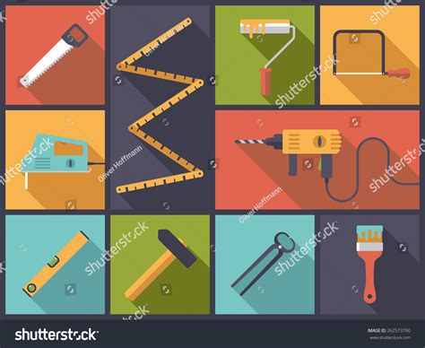 home improvement design tool home improvement crafting tools flat design stock vector