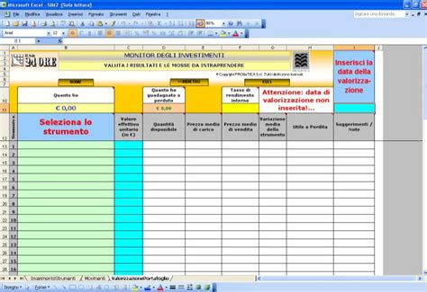 banca immobiliare di investimenti e gestioni foglio excel per gestione fondi