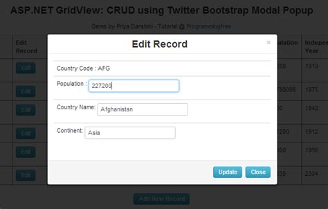 bootstrap tutorial popup asp net gridview crud using twitter bootstrap modal popup