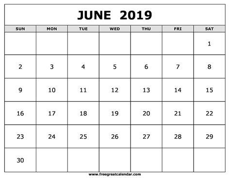 blank june  calendar printable
