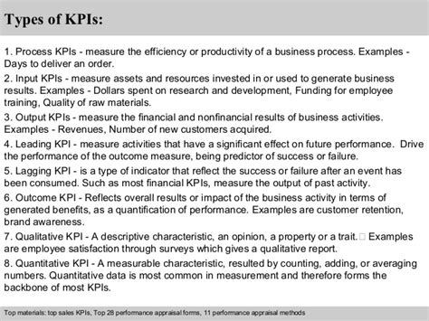 kpi performance review template qc engineer kpi