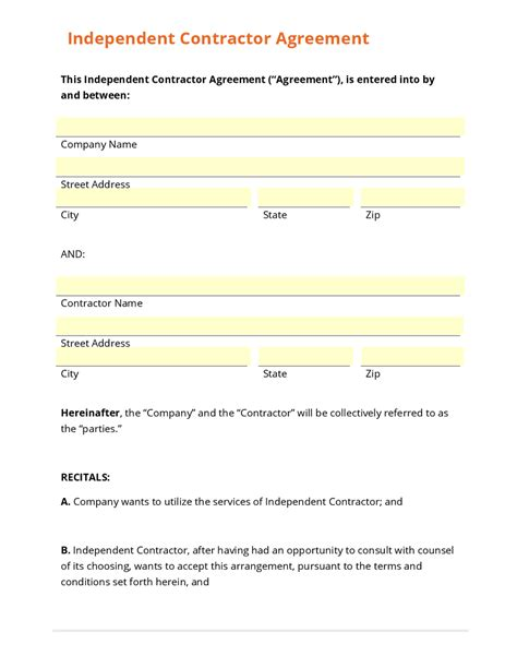 independent contractor agreement template free business form template gallery