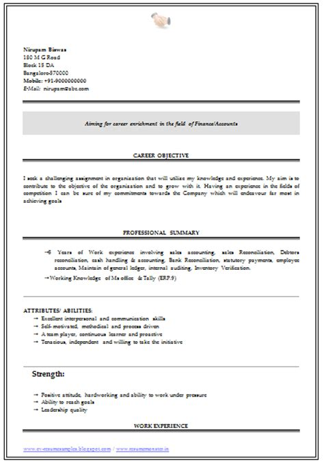 Bcom Fresher Resume Sle Doc 10000 cv and resume sles with free b
