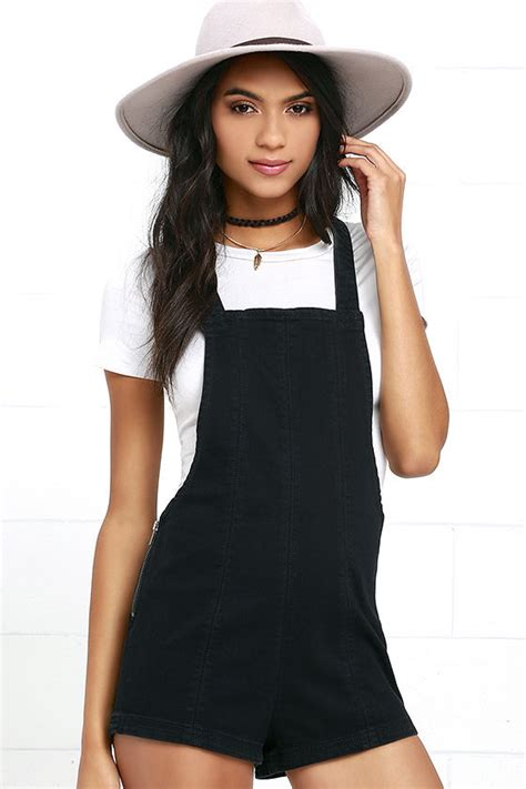 Overall Black rvca hold it washed black overalls denim overall