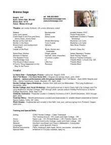 Acting Resume Exles by Doc 464600 Acting Cv Template Acting Cv 101 Beginner Acting Resume Exle Template 79
