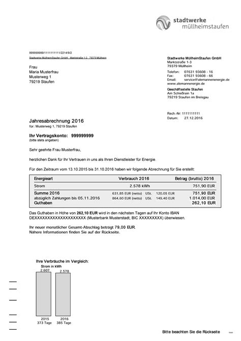 Muster Mahnung Restbetrag Musterrechnung Strom Stadtwerke M 252 Llheim Staufen
