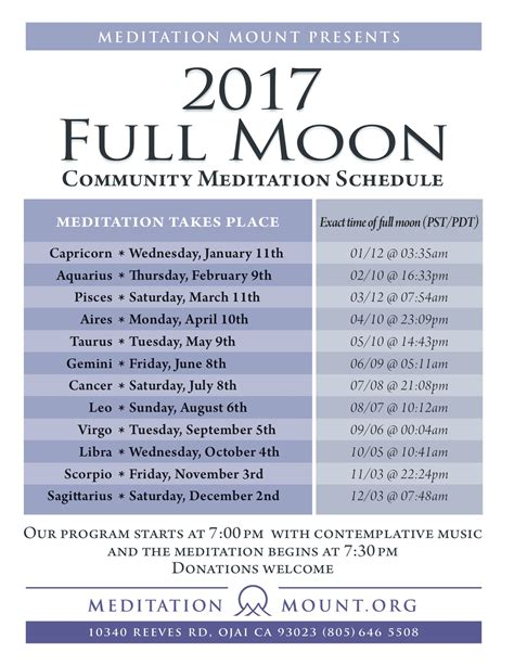 full moon april 2017 2017 full moon schedule meditation mount