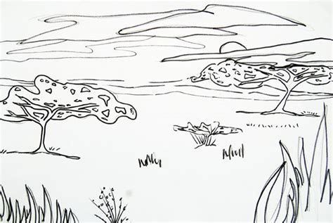 african landscape coloring page african safari using tissue paper and sharpie artsmudge