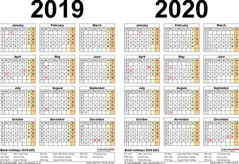 Calendar 2019 And 2020 Two Year Calendars For 2019 2020 Uk For Word