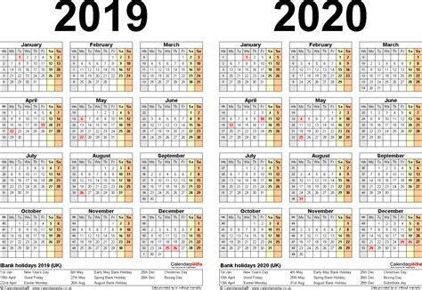 Calendar 2019 Printable Uk Two Year Calendars For 2019 2020 Uk For Word