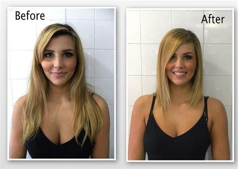 wavy long bob before and after pic long angled bob www hairdesigners ca transformations