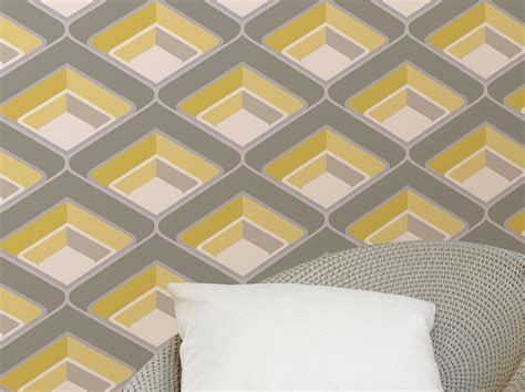Design House Skyline Yellow Motif Wallpaper | papier peint corona blanc cr 232 me jaune gris gris clair