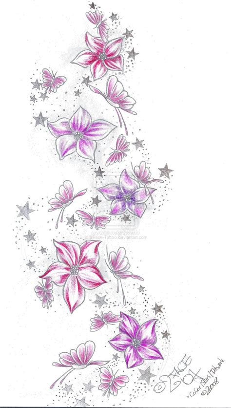 color star tattoo designs flower butterflies sketch