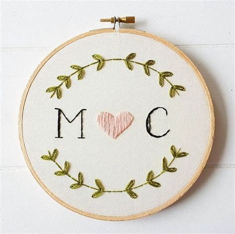 embroidery pattern name custom monogram embroidery hoop art hand embroidered