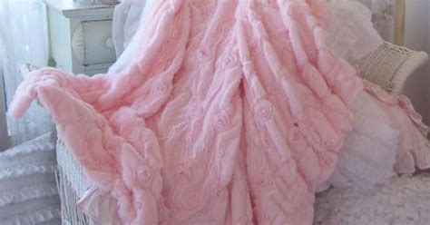 shabby baby pink fur satin ribbon ruffle roses chic throw soft cozy blanket for the home