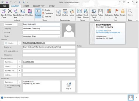 Create A Business Card In Outlook 2013