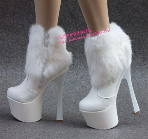 rabbit fur boots platform boots ankle length boots ultra