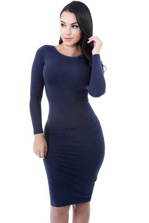 Longsleve Welcome Blue womens plain sleeve midi bodycon dress navy blue pink