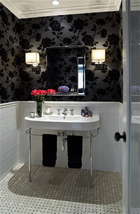 black  white wallpaper bathroom  grasscloth wallpaper