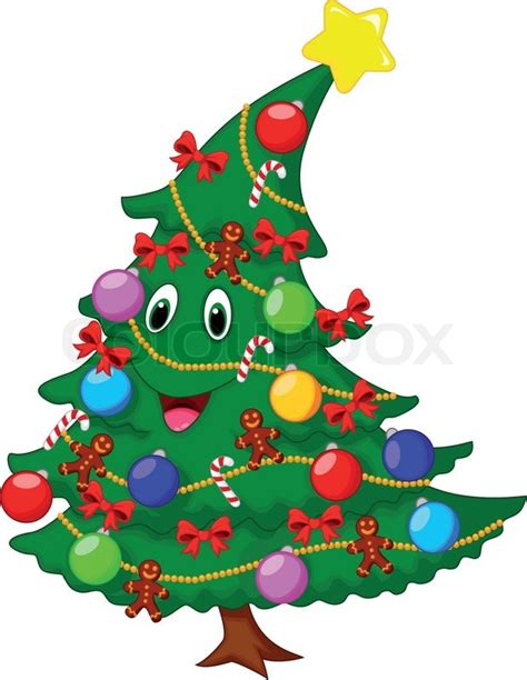 weihnachtsbaum cartoon figur stock vektor colourbox