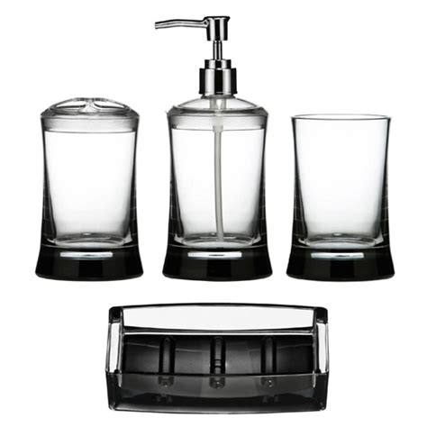 4 clear acrylic bathroom accessories set at