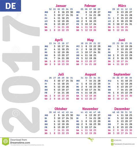 Calendario Aleman Calendario Alem 225 N 2017 Ilustraci 243 N Vector Imagen