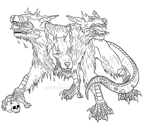 cerberus tattoo lineart by shivani11 on deviantart
