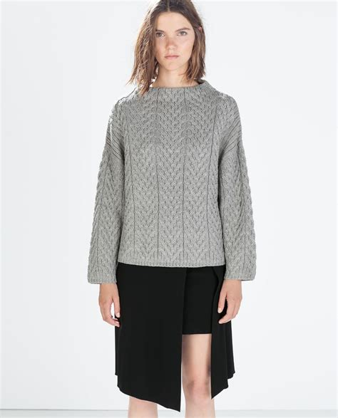 zara cable knit jumper zara funnel neck cable knit sweater can t live