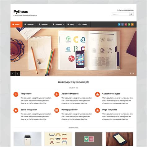 wordpress themes photo portfolio pytheas free responsive corporate portfolio wordpress theme
